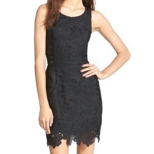 ASTR Black Sleeveless Lace Overlay Dress Small M8